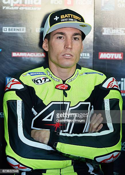 Aleix Espargaro of Spain and Aprilia Racing Team Gresini looks on during the MotoGP Test in Valencia at Ricardo Tormo Circuit on November 16 2016 in...