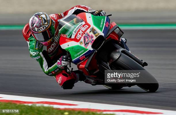 Aleix Espargaro of Spain and Aprilia Racing Team Gresini of Great Britain and Aprilia Racing Team Gresini rounds the bend during free practice for...