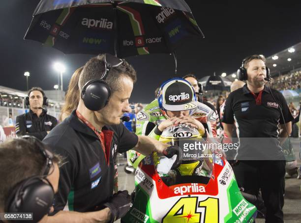 Aleix Espargaro of Spain and Aprilia Racing Team Gresini prepares to start on the grid during the MotoGP race during the MotoGp of Qatar Race at...