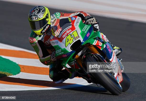 Aleix Espargaro of Spain and Aprilia Racing Team Gresini rides during the MotoGP of Valencia Previews at Comunitat Valenciana Ricardo Tormo Circuit...