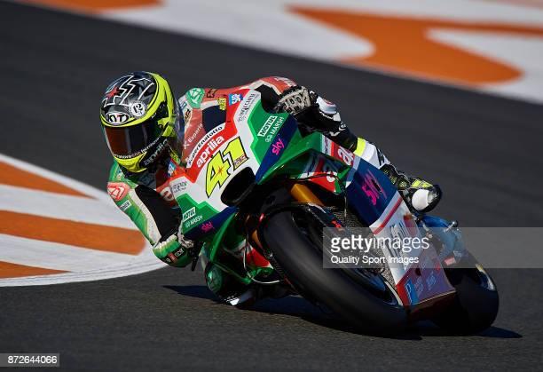 Aleix Espargaro of Spain and Aprilia Racing Team Gresini rides during the MotoGP of Valencia Previews at Comunitat Valenciana Ricardo Tormo Circuit...