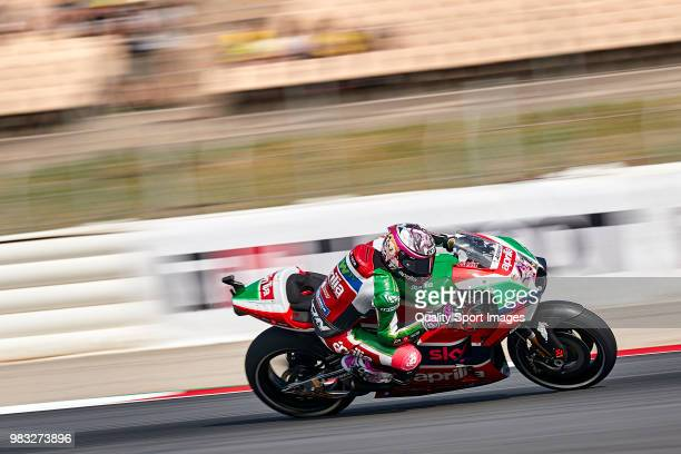 Aleix Espargaro of Spain and Aprilia Racing Team Gresini rides during free practice for the MotoGP of Catalunya at Circuit de Catalunya on at Circuit...