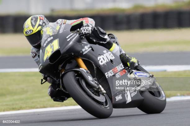 Aleix Espargaro of Spain and Aprilia Racing Team Gresini rounds the bend during 2017 MotoGP preseason testing at Phillip Island Grand Prix Circuit on...