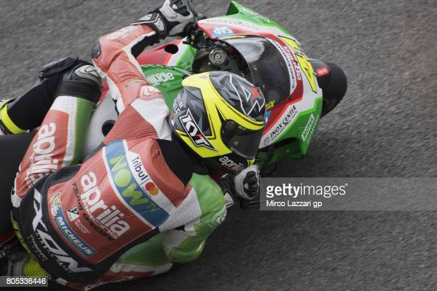 Aleix Espargaro of Spain and Aprilia Racing Team Gresini rounds the bend during the MotoGp of Germany Qualifying at Sachsenring Circuit on July 1...