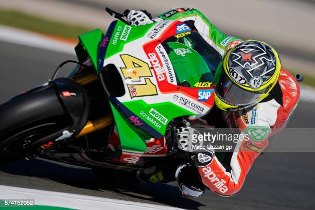 Aleix Espargaro of Spain and Aprilia Racing Team Gresini rounds the bend during the MotoGP Tests In Valencia day 1 at Comunitat Valenciana Ricardo...