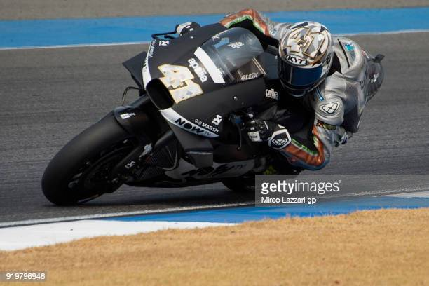 Aleix Espargaro of Spain and Aprilia Racing Team Gresini rounds the bend during the MotoGP Tests In Thailand on February 18 2018 in Buri Ram Thailand