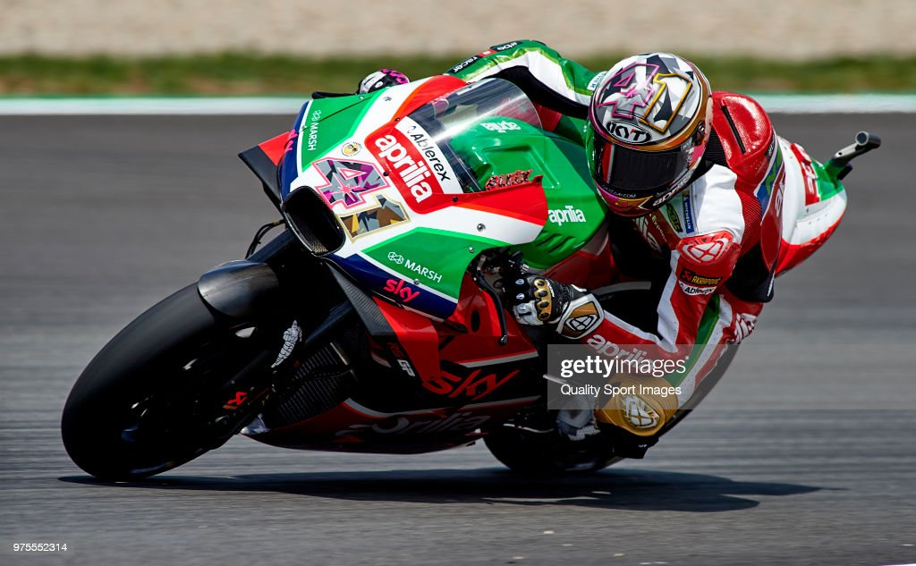Aleix Espargaro of Spain and Aprilia Racing Team Gresini rounds the bend during free practice for the MotoGP of Catalunya at Circuit de Catalunya on June 15, 2018 in Montmelo, Spain.