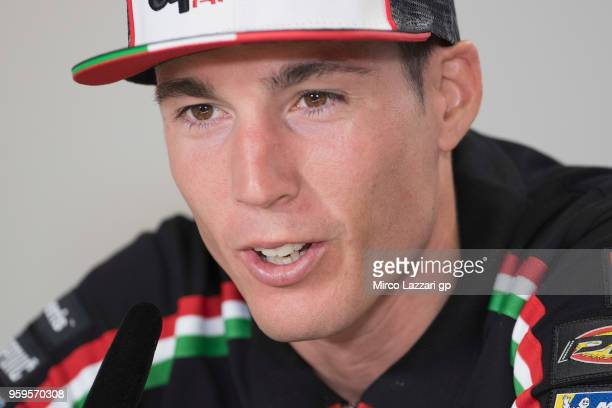 Aleix Espargaro of Spain and Aprilia Racing Team Gresini speaks during the press conference during the MotoGp of France Previews on May 17 2018 in Le...