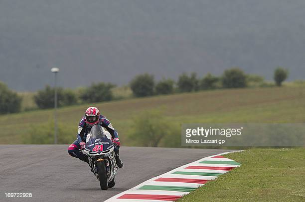 Aleix Espargaro of Spain and Power Electronics Aspar heads down a straight during the MotoGp of Italy Free Practice at Mugello Circuit on May 31 2013...