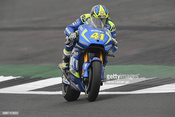 Aleix Espargaro of Spain and Team Suzuki ECSTAR heads down a straight during the MotoGp Of Great Britain Free Practice at Silverstone Circuit on...