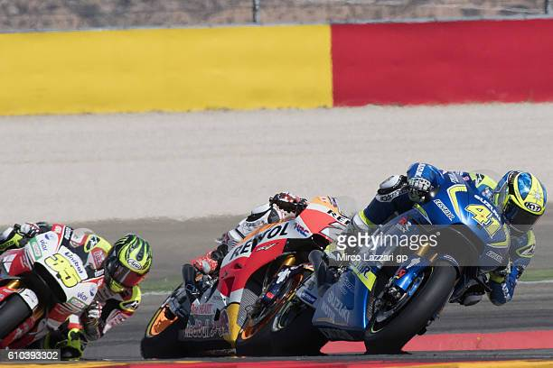 Aleix Espargaro of Spain and Team Suzuki ECSTAR leads the field during the MotoGP race during the MotoGP of Spain Race at Motorland Aragon Circuit on...