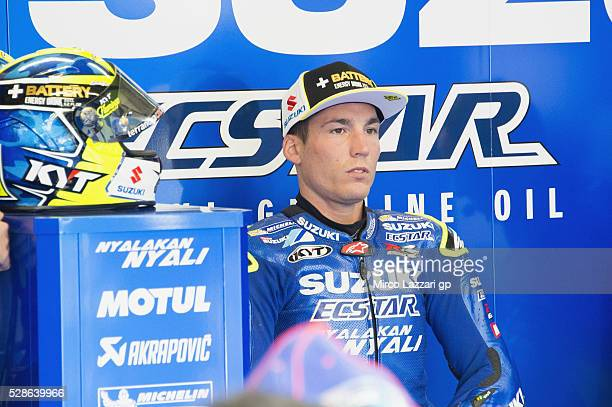 Aleix Espargaro of Spain and Team Suzuki ECSTAR looks on in box during the MotoGp of France Free Practice on May 6 2016 in Le Mans France