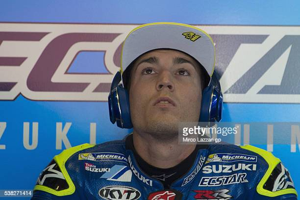 Aleix Espargaro of Spain and Team Suzuki ECSTAR looks on in box before the MotoGP race during the MotoGp of Catalunya Race at Circuit de Catalunya on...