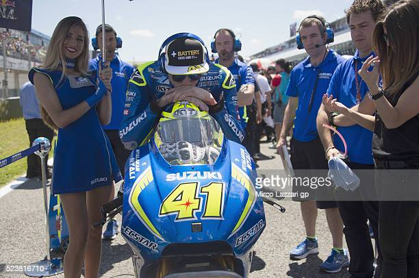 Aleix Espargaro of Spain and Team Suzuki ECSTAR prepares to start on the grid during the MotoGP race during the MotoGp of Spain Race at Circuito de...