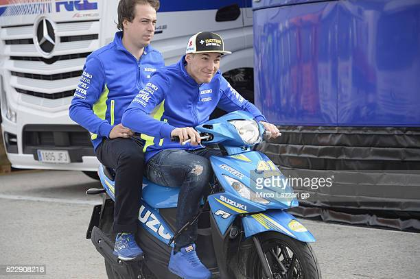 Aleix Espargaro of Spain and Team Suzuki ECSTAR rides the scooter in paddock during the MotoGp of Spain Previews at Circuito de Jerez on April 21...