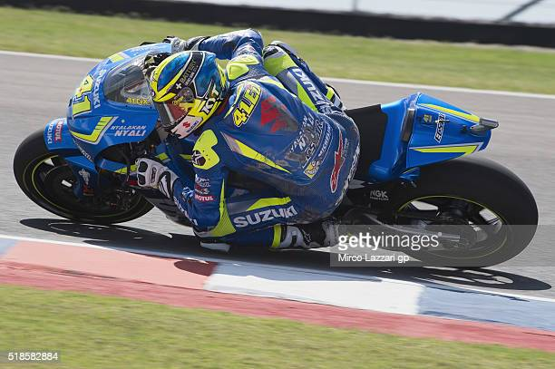 Aleix Espargaro of Spain and Team Suzuki ECSTAR rounds the bend during the MotoGp of Argentina Free Practice at Termas De Rio Hondo Circuit on April...