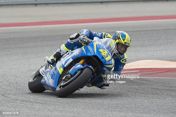 Aleix Espargaro of Spain and Team Suzuki ECSTAR rounds the bend during the MotoGp Red Bull US Grand Prix of The Americas Qualifying at Circuit of The...