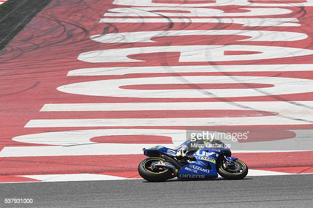 Aleix Espargaro of Spain and Team Suzuki ECSTAR rounds the bend during the free practice during the MotoGp of Catalunya Free Practice at Circuit de...