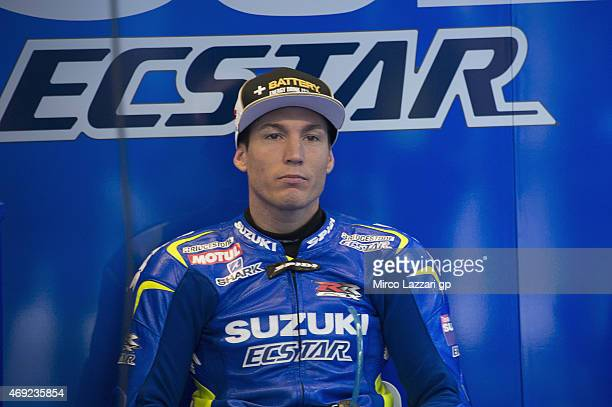 Aleix Espargaro of Spain and Team Suzuki MotoGP looks on in box during the MotoGp Red Bull US Grand Prix of The Americas Free Practice at Circuit of...