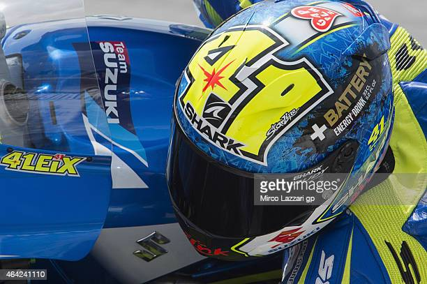 Aleix Espargaro of Spain and Team Suzuki MotoGP rounds the bend during the MotoGP Tests in Sepang Day One at Sepang Circuit on February 23 2015 in...
