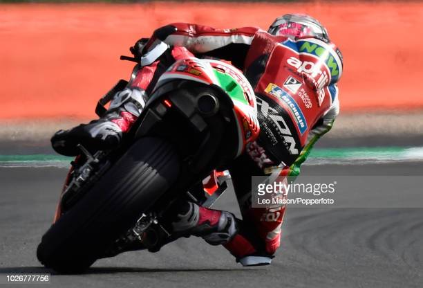 Aleix Espargaro of Spain on his Aprilia Racing Team RSGP during the qualifying session for Sunday's race at Silverstone Circuit on August 25 2018 in...