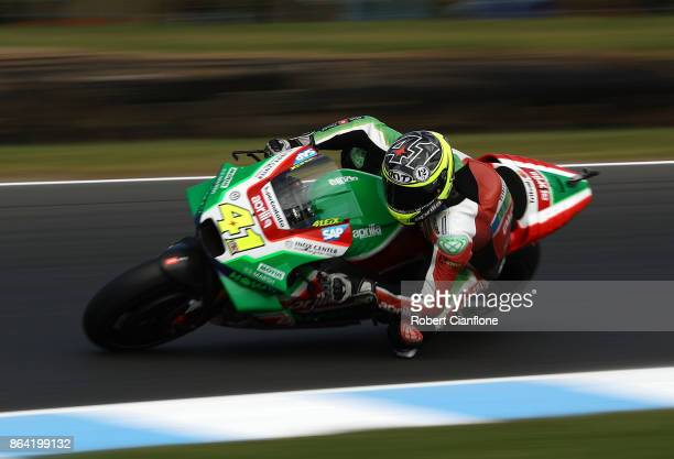 Aleix Espargaro of Spain rides the APRILIA RACING TEAM GRESINI Aprilia during qualifying for the 2017 MotoGP of Australia at Phillip Island Grand...
