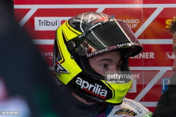Aleix Espargaro on pit during qualifying session at Valencia Motogp.