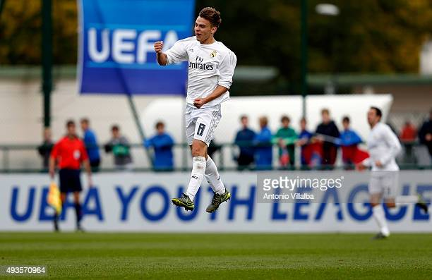Aleix Febas of Real Madrid celebrates his goal during the UEFA Youth League match between Paris SaintGermain and Real Madrid at Stade GeorgesLefevre...