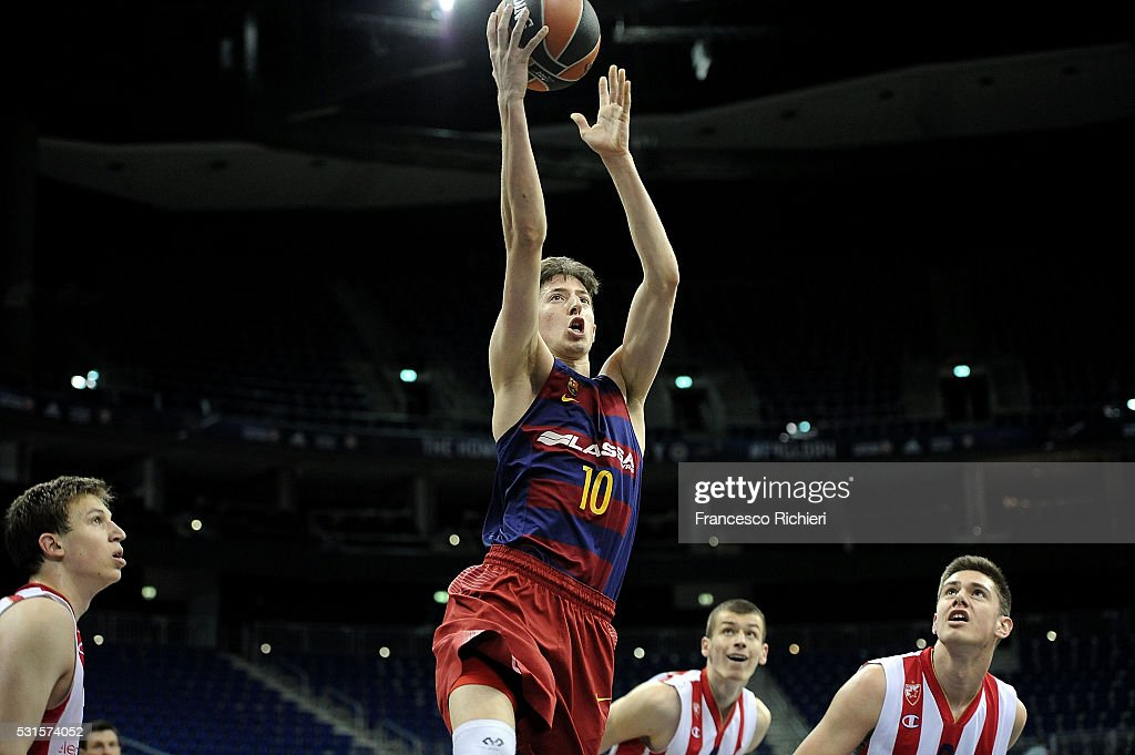 Aleix Font, #10 of U18 FC Barcelona Lassa in action during the Turkish Airlines Euroleague Basketball Adidas Next Generation Tournament Championship game between U18 FC Barcelona Lassa v U18 Crvena Zvezda Telekom Belgrade at Mercedes Benz Arena on May 15, 2016 in Berlin, Germany.