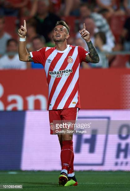 Aleix Garcia of Girona celebrates after scoring the fourth goal during the preseason friendly match between Girona and Tottenham Hotspur at Municipal...