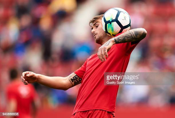 Aleix Garcia of Girona warms up during the La Liga match between Girona and Levante at Estadio Montilivi on March 31 2018 in Girona Spain