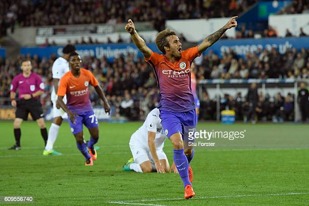 Aleix Garcia Serrano of Manchester City celebrates scoing his sides second goal during the EFL Cup Third Round match between Swansea City and...