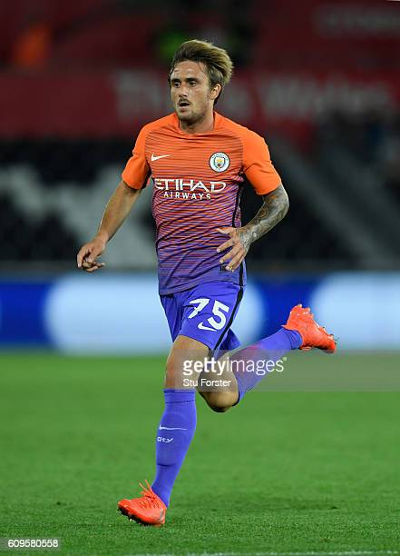 Aleix Garcia Serrano of Manchester City in action during the EFL Cup Third Round match between Swansea City and Manchester City at the Liberty...