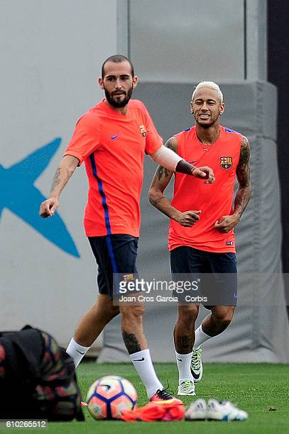 Aleix Vidal and Neymar Jr during the FC Barcelona training session at the Sports Center FC Barcelona Joan Gamper before the Spanish League match...