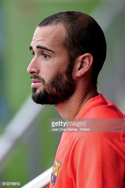 Aleix Vidal attend the FC Barcelona training session at the Sports Center FC Barcelona Joan Gamper before the Spanish League match between Sporting...