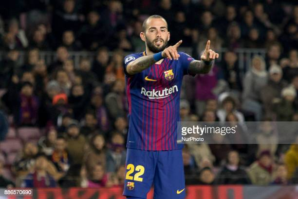 Aleix Vidal during the UEFA Champions League match between FC Barcelona and Sporting CP Lisboa at the Camp Nou Stadium in Barcelona Catalonia Spain...