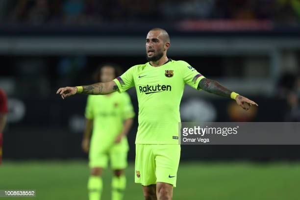 Aleix Vidal of Barcelona gestures during a match between FC Barcelona and AS Roma as part of International Champions Cup 2018 at ATT Stadium on July...