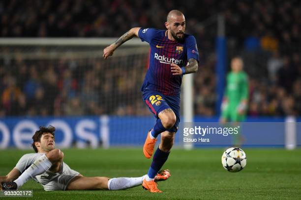 Aleix Vidal of Barcelona in action during the UEFA Champions League Round of 16 Second Leg match FC Barcelona and Chelsea FC at Camp Nou on March 14...