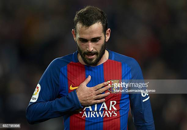 Aleix Vidal of Barcelona reacts during the Copa del Rey quarterfinal second leg match between FC Barcelona and Real Sociedad at Camp Nou on January...
