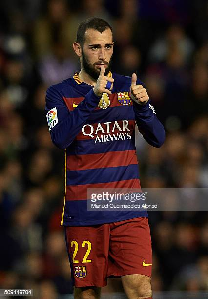 Aleix Vidal of Barcelona reacts during the Copa del Rey Semi Final second leg match between Valencia CF and FC Barcelona at Estadio Mestalla on...
