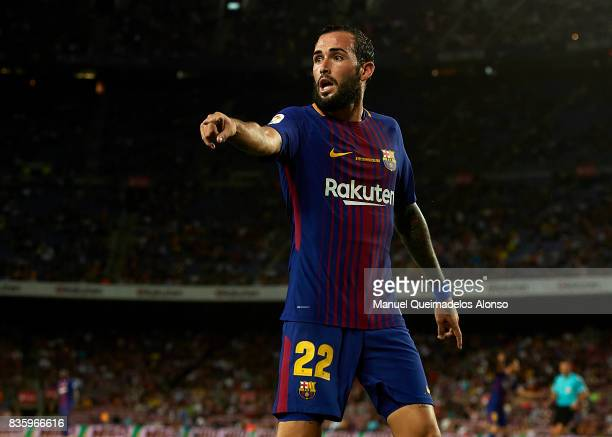 Aleix Vidal of Barcelona reacts during the La Liga match between Barcelona and Real Betis at Camp Nou on August 20 2017 in Barcelona Spain
