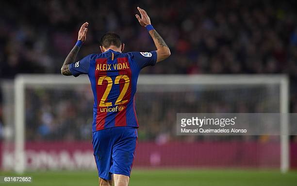 Aleix Vidal of Barcelona reacts during the La Liga match between FC Barcelona and UD Las Palmas at Camp Nou Stadium on January 14 2017 in Barcelona...