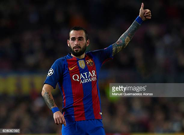 Aleix Vidal of Barcelona reacts during the UEFA Champions League Group C match between FC Barcelona and VfL Borussia Moenchengladbach at Camp Nou on...