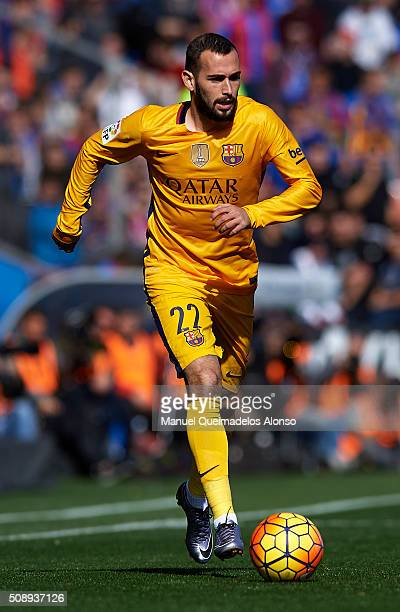 Aleix Vidal of Barcelona runs with the ball during the La Liga match between Levante UD and FC Barcelona at Ciutat de Valencia on February 07 2016 in...
