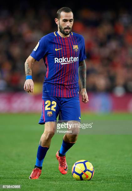 Aleix Vidal of Barcelona runs with the ball during the La Liga match between Valencia and Barcelona at Estadio Mestalla on November 26 2017 in...