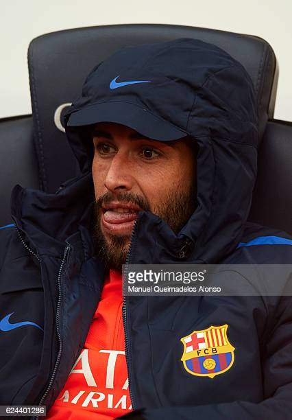 Aleix Vidal of Barcelona sits on the substitutes bench prior to the La Liga match between FC Barcelona and Malaga CF at Camp Nou stadium on November...