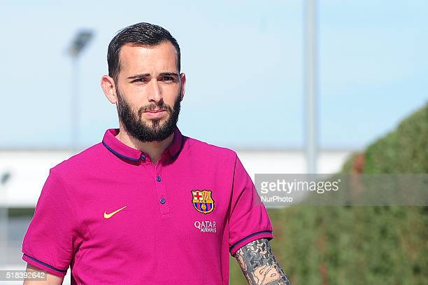 Aleix Vidal of FC Barcelona attends a press conference on March 31 2016 in Barcelona Spain