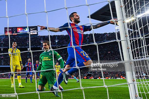 Aleix Vidal of FC Barcelona celebrates after scoring his team's fifth goal during the La Liga match between FC Barcelona and UD Las Palmas at Camp...