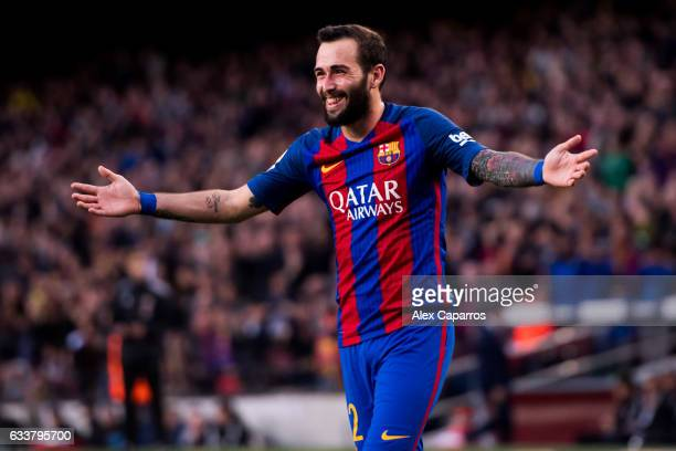 Aleix Vidal of FC Barcelona celebrates after scoring his team's third goal during the La Liga match between FC Barcelona and Athletic Club at Camp...