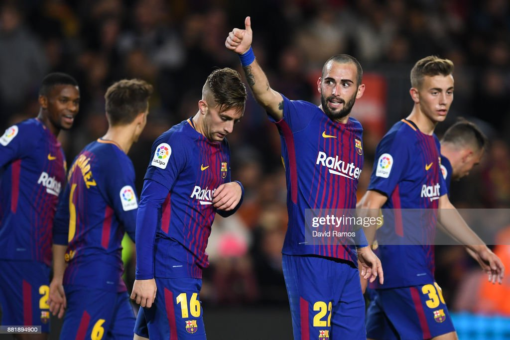 Aleix Vidal of FC Barcelona (2ndR) celebrates after scoring his team's third goal during the Copa del Rey round of 32 second leg match between FC Barcelona and Real Murcia at Camp Nou on November 29, 2017 in Barcelona, Spain.